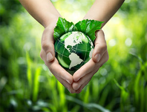 Hands Holding Rendering of Green Globe Copy 1