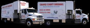 Two Orange County Shredding Trucks